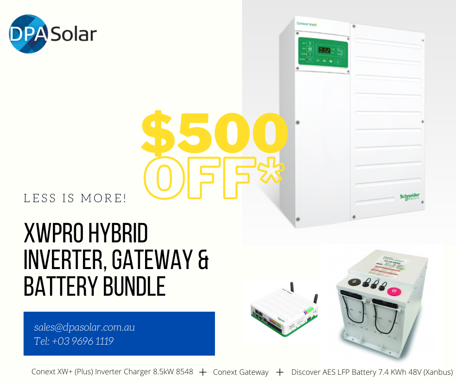Discover Batteries with Schneider XWPRO $500 off Special Offer.